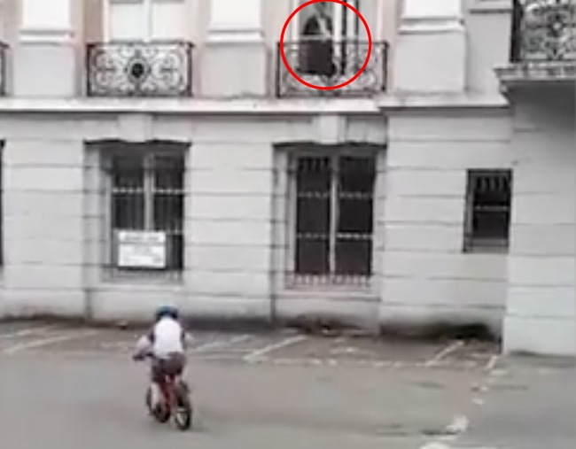 Ghost while filming Son riding bike